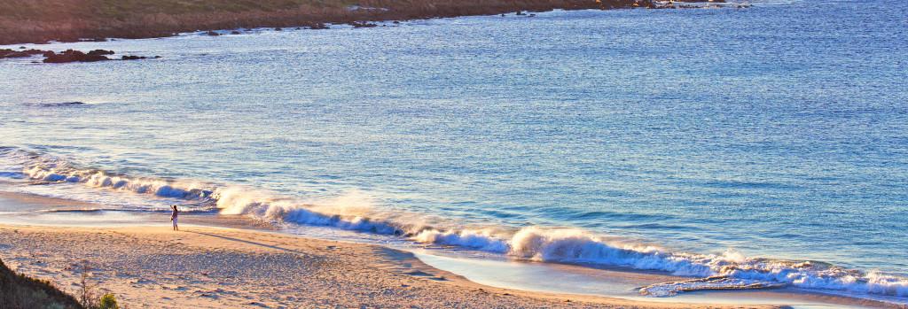 Australian seascape at dawn. Ocean sand shore at sunset western australia